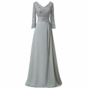 f7e8131ecae Details about Long Sleeve Lace Applique Mother Of The Bride Dresses Evening  Formal Gowns WD053