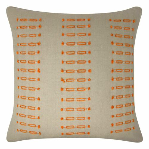 """Zara Embroidered Cushion Cover Luxury Modern Linen Style Cushions 18/"""" x 18/"""""""
