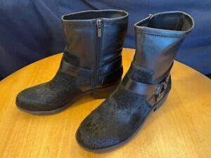 LOGO Lori Goldstein Wilda Leather Motorcycle Boot w/ Strap Women 10 M Black 10M
