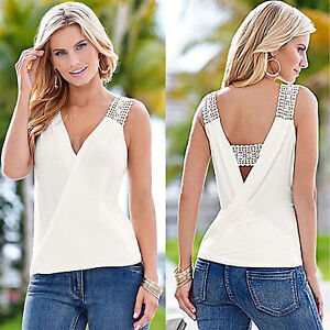 437d9a1bc106d AU Womens Lace Crochet Strap Tank Top Vest Summer Sleeveless T-Shirt ...