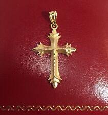"MA Vintage 14k Yellow Gold Diamond Cut CROSS Religious Pendant 585 Charm 1.25"""