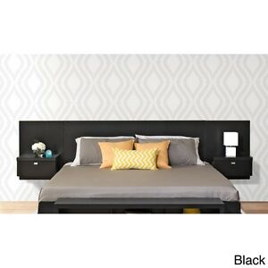 new product 58b05 b21b2 Details about Black Floating Headboard King Bed Bedroom Furniture  Nightstand Side Table Wood