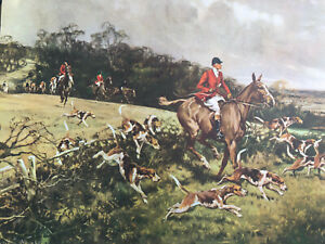 ANTIQUE GILBERT WRIGHT 1947 ON THE TRAIL FOX HUNTING CALENDAR ART PRINT PICTURE