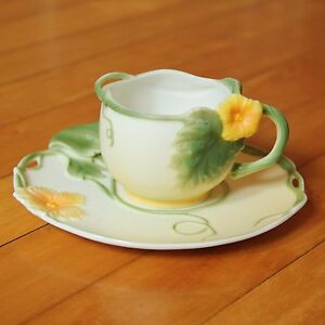 Graff Porcelain Hibiscus Flower Tea Cup And Saucer Set Raised Yellow