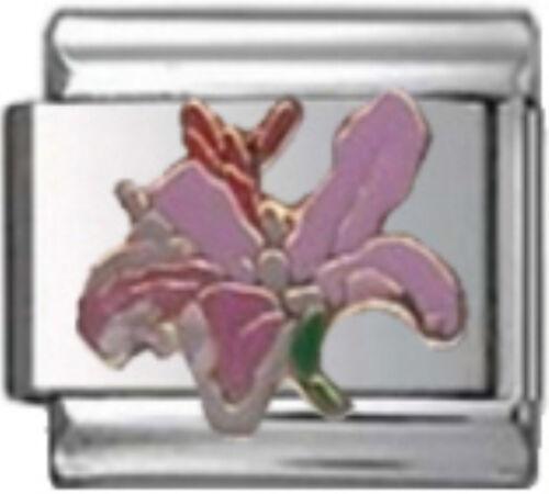 LILY PINK FLOWER Enamel Italian 9mm Charm GA047 Fits Nomination Classic