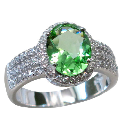 Cool 3 CT PERIDOT 925 Sterling Silver Ring Taille 5-10