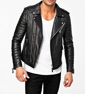 Real Leather Jacket Men Premium 100/% Lambskin Mens Leather Jacket