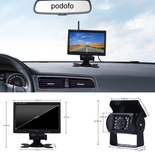 "Wireless Night Vision Rear View Backup Camera 7/"" Monitor Kit for RV Truck Van"