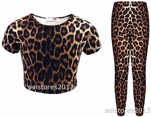 New Girls Leopard Print Crop Top T-Shirt Leggings Age Size ...