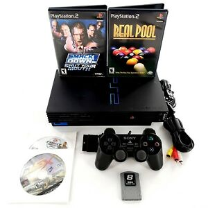 Sony-PlayStation-2-Fat-Black-Home-Console-Bundle-Lot-w-4-Games-Tested-amp-Works