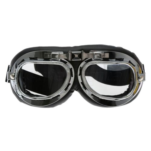 Vintage Steampunk Motorcycle Helmet Goggles Silver Frame Aviator Pilot Glasses