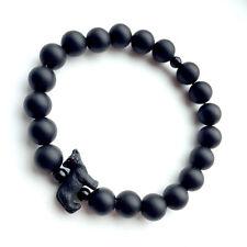 Pantera Negra Pulsera hecho con Piedras Preciosas Perlas De Ónice Negro Mate