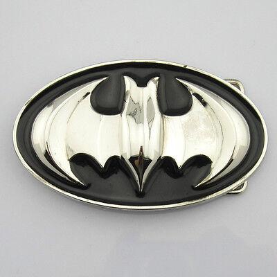 New Fashion Batman Superhero Mens Belt Buckle Metal Silver Black Faux leather