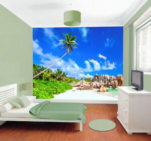 Beach-Tropical-Tree-Sea-Sky-Rocks-Photo-Wallpaper-Wall-Mural-Home-Bedroom-Deco