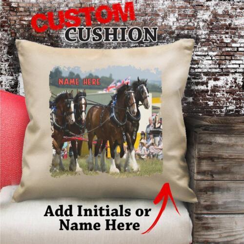 Personnalisé Shire horse transport Poney Housse De Coussin Cadeau lui son anniversaire NC104