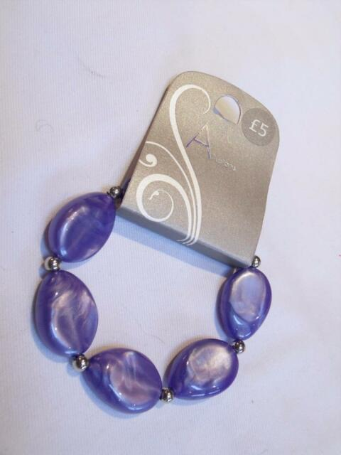 NUOVO-allusioni Viola marbelled ovale e Argento Palla Perline Elasticizzata Braccialetto