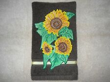 Appliqued Sunflower Trio Kitchen or Bathroom Hand Towel Brown Hand Painted New