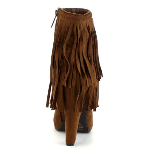 Fringe Ankle Booties Braided High Heel  Women/'s Western Boots Shoes Side Zipper
