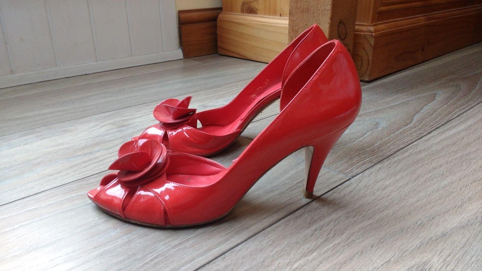 disponibile Poste Mistress in pelle rosso Peeptoe Peeptoe Peeptoe Stilleto Scarpe Misura  Spedizione gratuita per tutti gli ordini