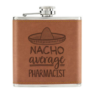 Nacho-Moyenne-Pharmacien-170ml-Cuir-PU-Hip-Flasque-Fauve-Worlds-Best-Prefere