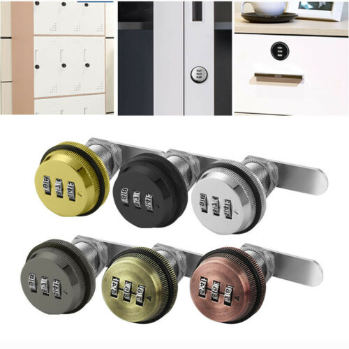 3-Digit Combination Lock Otary Tongue Cam Zinc Alloy for Drawer Locker Mailbox