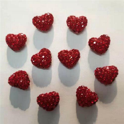 NEW 10mmx12mm Vertical Hole Heart Shape Polymer Clay Rhinestone Shamballa Beads