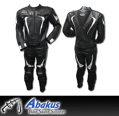 Motorcycle Racing Suit Black *Full Genuine Leather* 2-piece Motor race suits