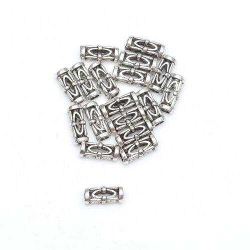 50pcs Tibetan Silver Tube Loose Spacer Beads Jewelry Making DIY Wholesale