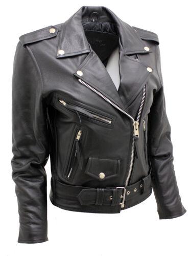 Stylish Brando Biker Jacket Leather Women's Black pUd5wpq