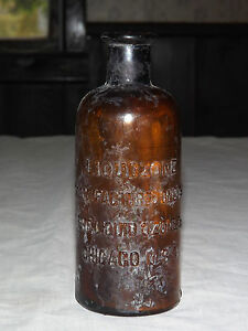 VINTAGE-1800S-LIQUOZONE-CHICAGO-USA-BROWN-MEDICINE-BOTTLE