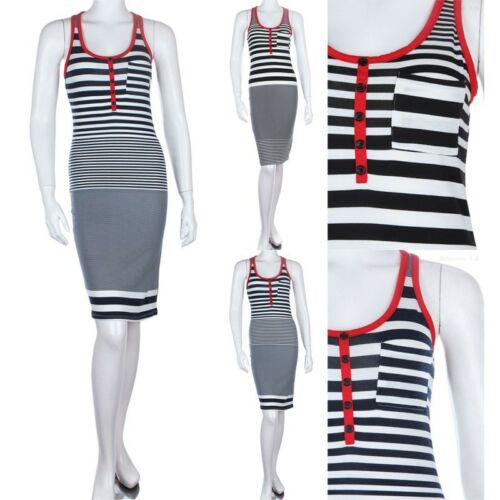 Contrast Trim Striped Midi Sundress with Chest Pocket Buttoned Front Cute S M L