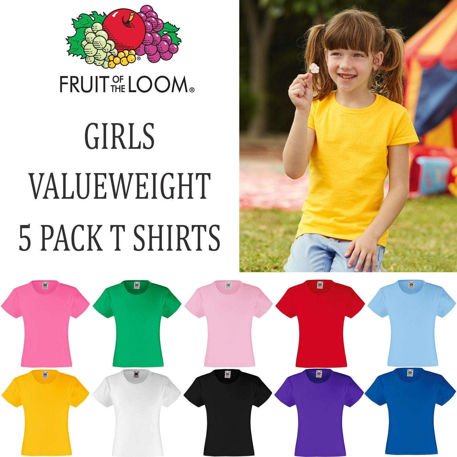 Pack of 5 FRUIT OF THE LOOM Girls Valueweight T-Shirt