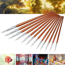 12 pcs Red Pearl Wooden Paint Acrylic Watercolor Oil Painting Artists Brushes