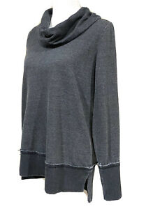 Lucky-Brand-Women-039-s-Grey-Cowl-Neck-Distressed-Long-Sleeve-Top-M-Cotton-Blend