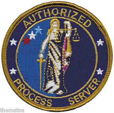 civil process server embroidery patch 4x11AND 2X5 hook on back