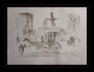 DALI New York City Plaza Fountain Hand Signed Numbered Etching Surrealism ART