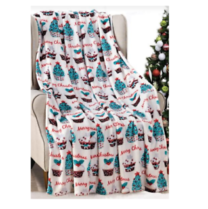 NEW-Ultra-Cozy-amp-Soft-Christmas-Holiday-Cupcakes-White-Plush-Warm-Throw-Blanket