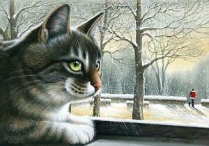 New-Modern-Postcard-Snow-Cats-Kitty-Kitten-Puss-Unposted-Art-Russian-Garmashova