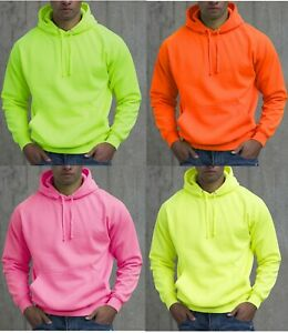 Details about Super Bright Electric Neon Hooded Top Hoody Hoodie Yellow Orange Pink Green
