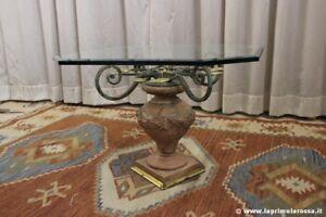 Tavolo In Vetro Usato.Tavolo Da Salotto Piano In Vetro Con Base Vaso In