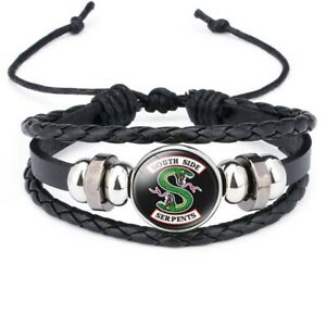 Riverdale-South-Side-Serpents-Glass-Domed-Braided-Leather-Bracelet
