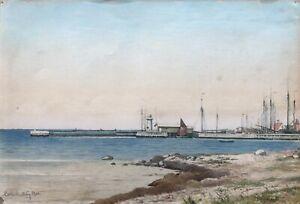 Aquarell-Blick-auf-den-Hafen-von-Lohals-Langeland-Daenemark-1903-Impressionist