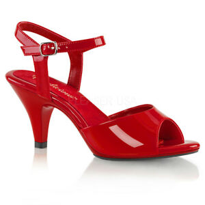 PLEASER-FABULICIOUS-BELLE-309-RED-PATENT-ANKLE-STRAP-SANDALS-SHOES