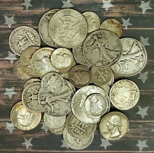 1-TROY-OZ-90-United-States-Silver-Coin-Collection-Of-HALVES-QUARTERS-AND-DIMES
