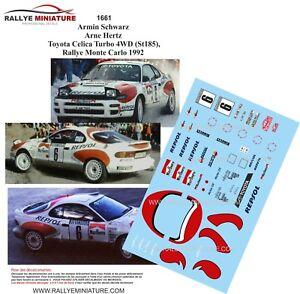 DECALS-1-43-REF-1661-TOYOTA-CELICA-ARMIN-SCHWARZ-RALLYE-MONTE-CARLO-1992-RALLY