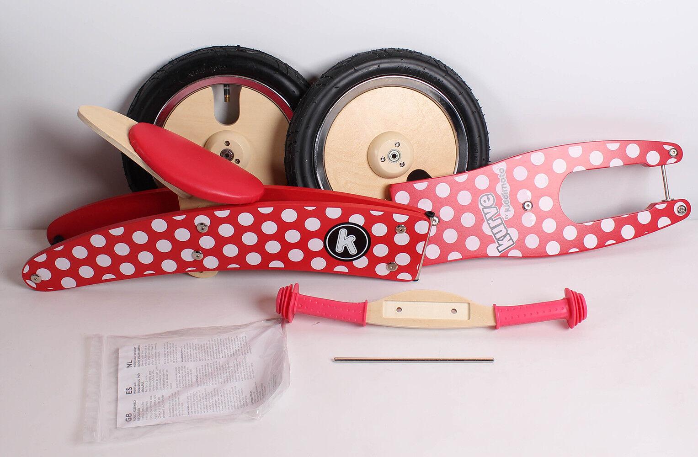 Kiddimoto 2kur606 Premium Laufrad Dotty Pünktchen rot verstellbar für 3-6 Jahre
