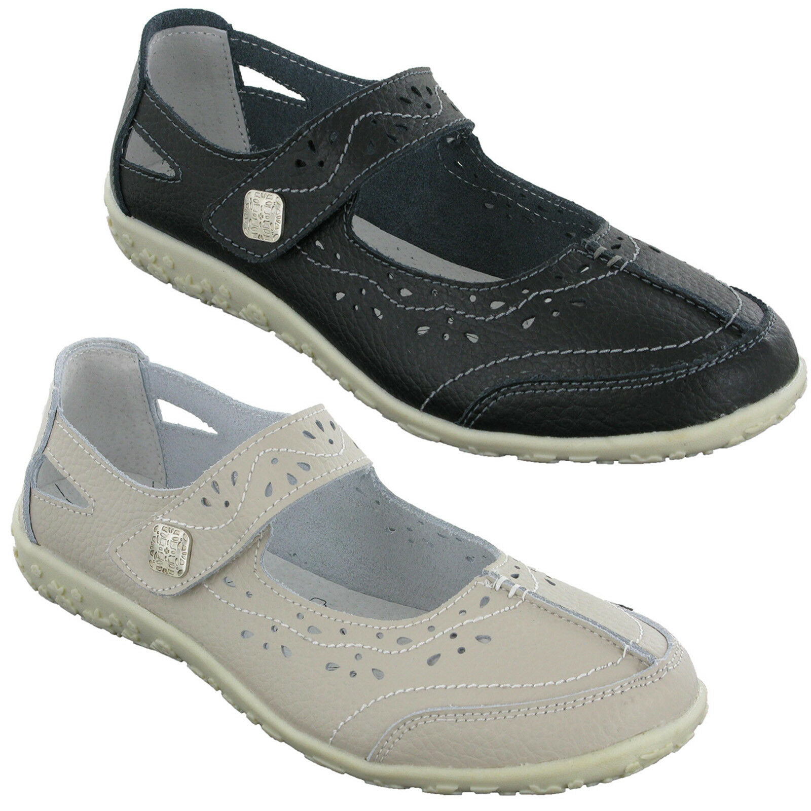 Cushion Walk LIfestyle Leather Padded Ladies Casual Touch Fasten zapatos Ladies Padded 647fa6
