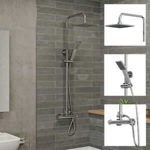 Bathroom-Thermostatic-Mixer-Shower-Set-Square-Chrome-Twin-Head-Exposed-Valve