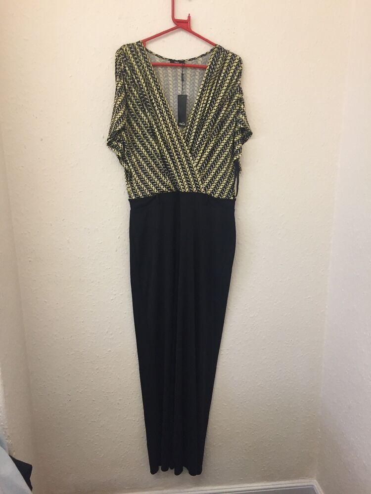 B764 M&co Femme Jaune Et Noir Combinaison Taille 16 Neuf Avec étiquettes Rrp £ 59.00