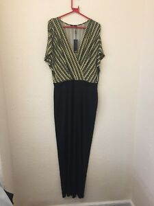 B764-M-amp-Co-Women-039-s-Yellow-and-Black-Jumpsuit-Size-16-New-With-Tags-RRP-59-00